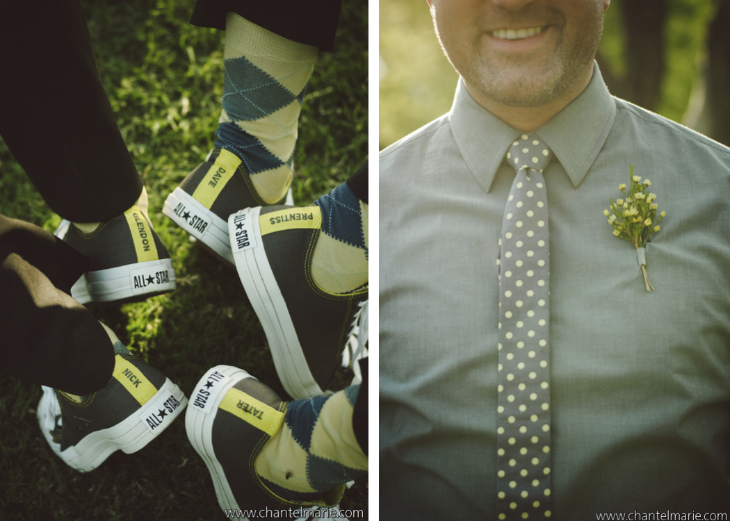 Personalized Converse shoes for a gray and yellow wedding