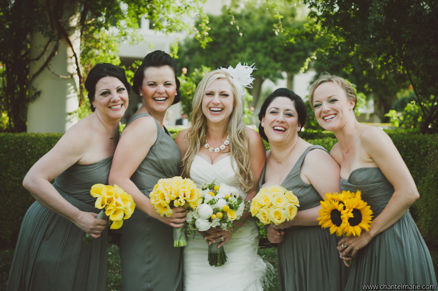 bride with bridesmaids at Las Vegas wedding