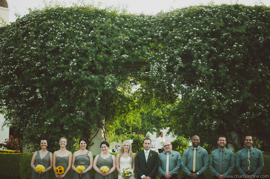 bridal party portrait yellow and gray